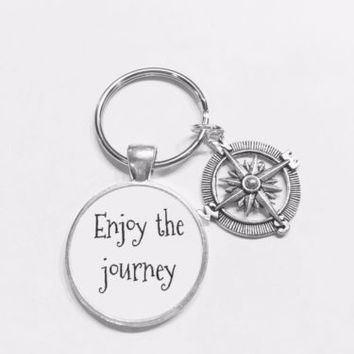 Enjoy The Journey Compass Nautical Travel Direction Graduation Gift Keychain