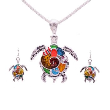 Colorful Sea Turtle Jewelry Set
