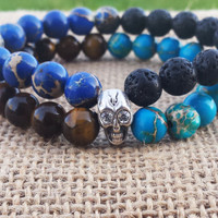 TRIBAL Men Bracelet Gemstones Men Skull Mala Bracelet Double Strung stone Bracelet Cool Men Bracelet Men's Beaded Bracelet Gifts For Him
