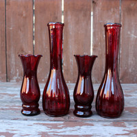 Vintage Set of Four (4) Red Glass Vases | Various Sizes | Retro Wedding & Home Decor | DIY Wedding