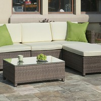 Poundex P50244 5 pc liz kona steel frame and pe resin wicker mesh patio sectional set