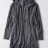 AEO Plush Hooded Cardigan, Charcoal