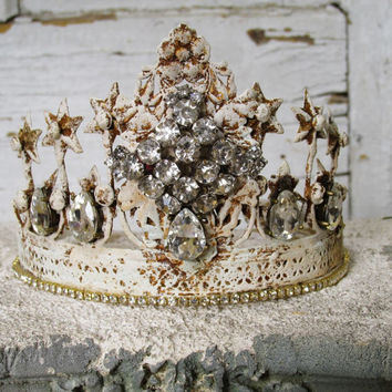 French white rusty tiara crown French Nordic headdress aged patina and adorned in rhinestones for statues and home decor anita spero design
