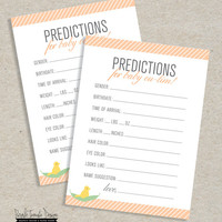 Printable Baby Prediction card. Baby Shower game. Custom baby shower. Baby shower boy. Baby Shower girl. Baby shower Prediction card.