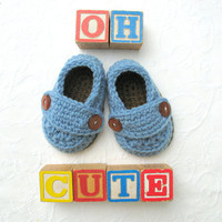 Baby Shoes, Cute Button Loafers, Baby Boy Shoes, Baby shower gift, Boy Blue and Chocolate Brown Shoes