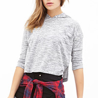 FOREVER 21 Cropped Heathered Hoodie Cream/Black