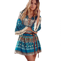 Bohemian Printed Dress Floral Colorful Dress Ruffles Sexy Ethnic Hippie Beach Flare Sleeve Boho Holiday Dress Sexy Vestidos