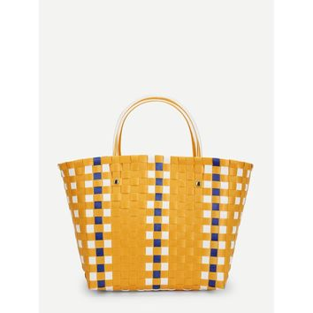 Yellow and White Woven Design Tote Bag - Purse - Large Bag - Beach Bag