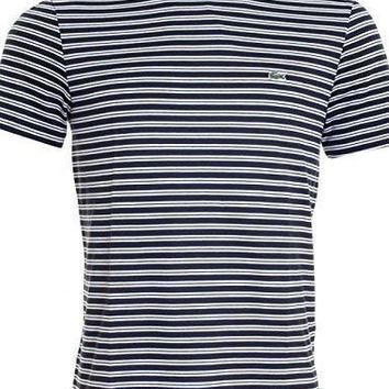 LACOSTE MERCERISED JERSEY STRIPED MENS T-SHIRT L NAVY BLUE/WHITE