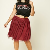 Plus Size Pleated Tulle Skirt