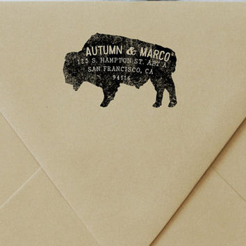 Buffalo Return Address Rubber Stamp - Bison Stamp - Personalized - Housewarming - Wedding Invitations - Animal Stamp - New Home Gift - BISON