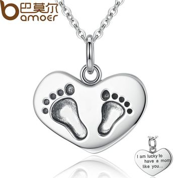 925 Sterling Silver Engrave Lucky To have A Mom Like You Baby Feet Pendant Necklaces Fine Jewelry Mother Gift SCN067