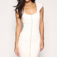 Low Cut Square Neckline Bandage Dress with Front Full Length Zip