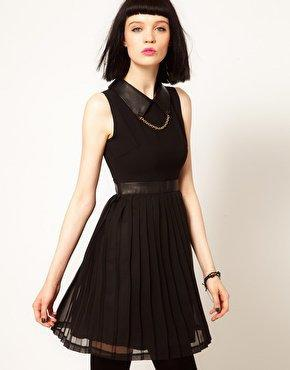 Sister Jane Chiffon Pleated Dress with Faux Leather and Stud Collar at asos.com