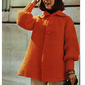 KNITTING JACKET PATTERN Vintage Pattern 70s Knitting sweater pattern cardigan pattern Instant Download