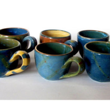 8f9beaa4540 Unique handmade colorful pottery espresso cups set. Six small ce