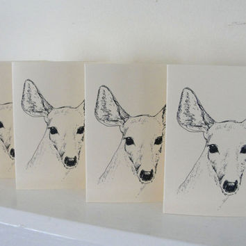Deer Cards Black and White Nature Deer by maryrichmonddesign