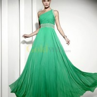 Green A-line One-Shoulder Floor Length Beaded Pleated Chiffon Evening Dress - US$190.00 - Goldwo.com