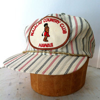 60's Red and Blue Striped Hawii Golf Hat - Waialae Country Club