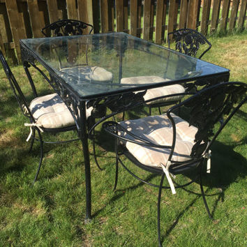 Vintage Wrought Iron Woodard POMEGRANATE Metal Patio set with glass topped table and 4 chairs