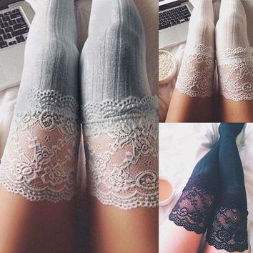 Women Lace Over Knee Thigh High Cotton Vertical stripes Socks stockings