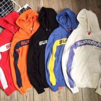 Supreme 5 Colors Patchwork Knit Hoodies Sweatershirt 11555860620 I