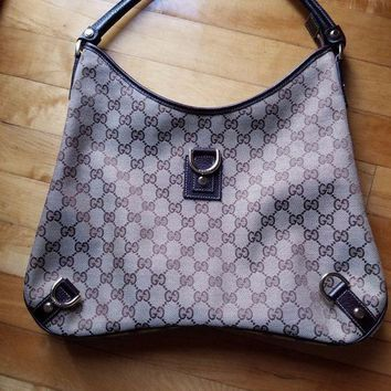 CREYXT3 Gucci Canvas & Leather 'GG' Monogram 'Abby' Hobo Handbag with Dust bag