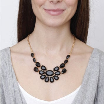 Black Statement Necklace by KnitPopShop