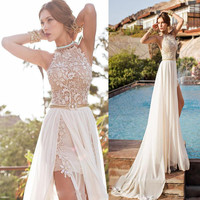 Chiffon Beach Style Halter Backless Sexy Lace Ivory Prom Dresses Gowns Formal Dress Graduation Dress Party Dress 2016