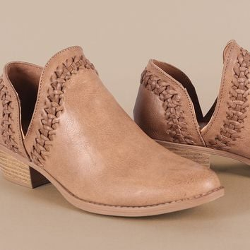 Qupid Burnished Woven Almond Toe Booties
