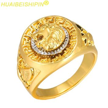 HUAIBEISHIPIN Fashion Gold and Silver Colors Classic Men's Punk Style Hip Hop Ring Band Cool Lion Head Gold Ring Jewelry S0098
