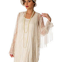 20s Style Ivory Floral Embroidered Fringe Jacket #20sstylejacket #fringejacket #vintagestylejacket #flapperjacket