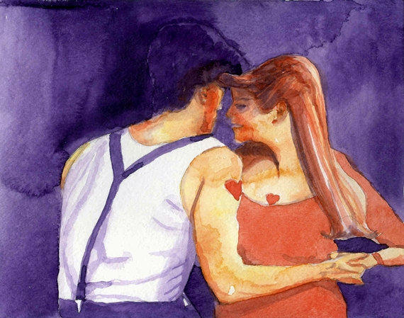 Rockabilly Dancers Watercolor Painting 8x10