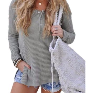 Women's Gray Button Front Knitted Side Split Long Sleeve Top