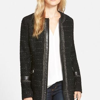 Women's Laundry by Shelli Segal Ribbon Trim Tweed Coat,
