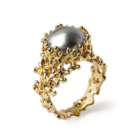 CORAL Gray Pearl Ring, Gray Pearl Engagement Ring,  Gold Pearl Ring, 14k Gold Engagement Ring, Unique Engagement Ring, Organic Gold Ring