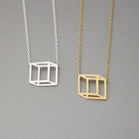 3D Cube/ Square Necklace  -  Available color as listed ( Gold, Silver )