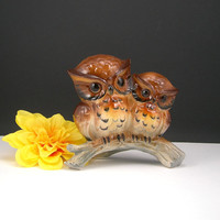 Owls Ceramic Figurine, Momma & Baby Owls,Two Brown Owls on Branch, circa 1960, Collectible Home Decor