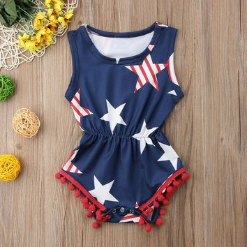 Navy Stripe Stars Romper Red Pom