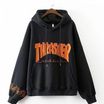 Cute Thrasher Print Loose Long Sleeve Sweater Pullover Hoodies    Black