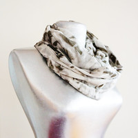 Handmade Gray Infinity Scarf - Summer Cotton Scarf