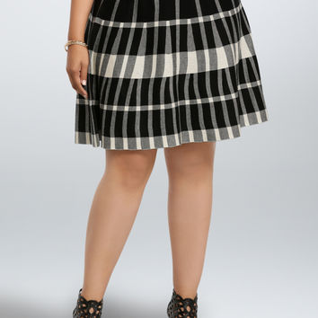 Plaid Sweater Knit Skater Skirt