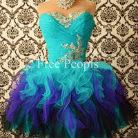 Cheap Custom Made Ball Gown Sweethear Multi-Color Short Homecoming Dress, Short Porm Dress, Formal Dress, Cheap Cocktail Dress