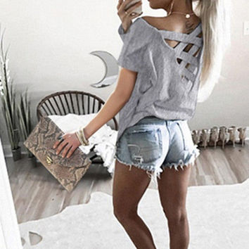 Sexy Hot Sale Short Sleeve Tops [10826062982]