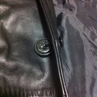 Black Leather Coat Mens Belted Genuine Leather/ Vintage Long Black Leather Coat / Full Length Coat / XL Size / Gift for Him.