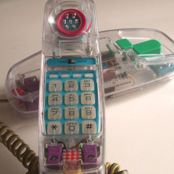 1980's UNISONIC See Thru Vintage Push Button Telephone