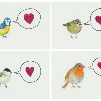 Set of mini Valentine's day cards with bird illustrations. Original watercolor & watercolor pencil paintings. Finnish art. Unique bird cards