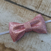 Bubble Gum Pink Glitter Bow Headband Hair Accessories Baby Toddler Adult