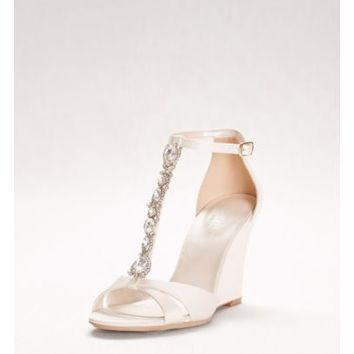 Crystal T-Strap Satin Wedges - Davids Bridal