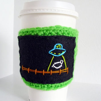Alien Abduction Coffee Sleeve Crochet Cup Cozy by JMcnallyDesigns